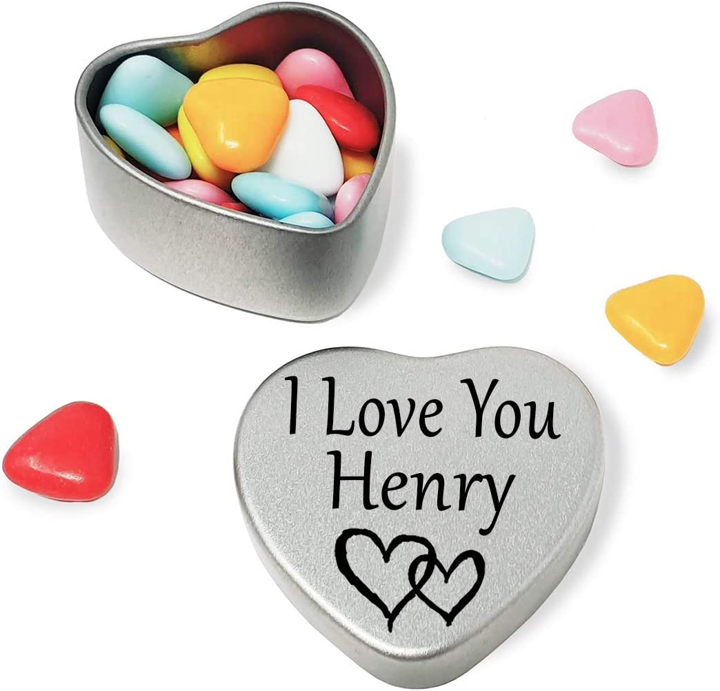 I Love You Henry Mini heart shaped silver gift tin filled with mini chocolates Great as a birthday present or a gift to show someone special how much you love them