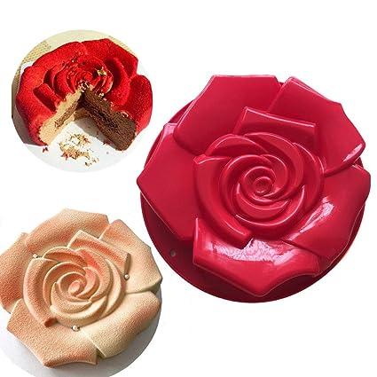 Joyeee Antiadherente de Molde para Torta de Silicona, Molde para Hornear en Forma de Rosa