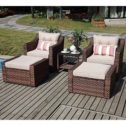 SUNSITT Outdoor Furniture Sofa Set 5-Piece Brown Wicker Lounge Chair & Ottoman Set with Neutral Beige Cushions & Side Table w/Aluminum Top (Chairs Wicker Patio Faux)