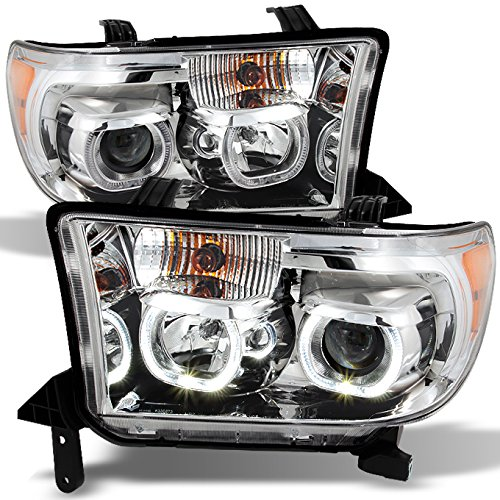 (For Toyota Tundra Pickup Chrome Clear Exclusive Halo Projector Ultra Bright SMD DRL LED)