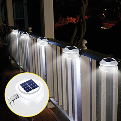 Solar Gutter Lights,Outdoor 9 LED Fence Light Waterproof Security Lamps