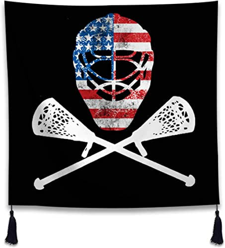 XIANN Hanging Tapestry Wall Art Home Decor Living Room Bedroom – Funny Lacrosse Helmet Crossed Sticks