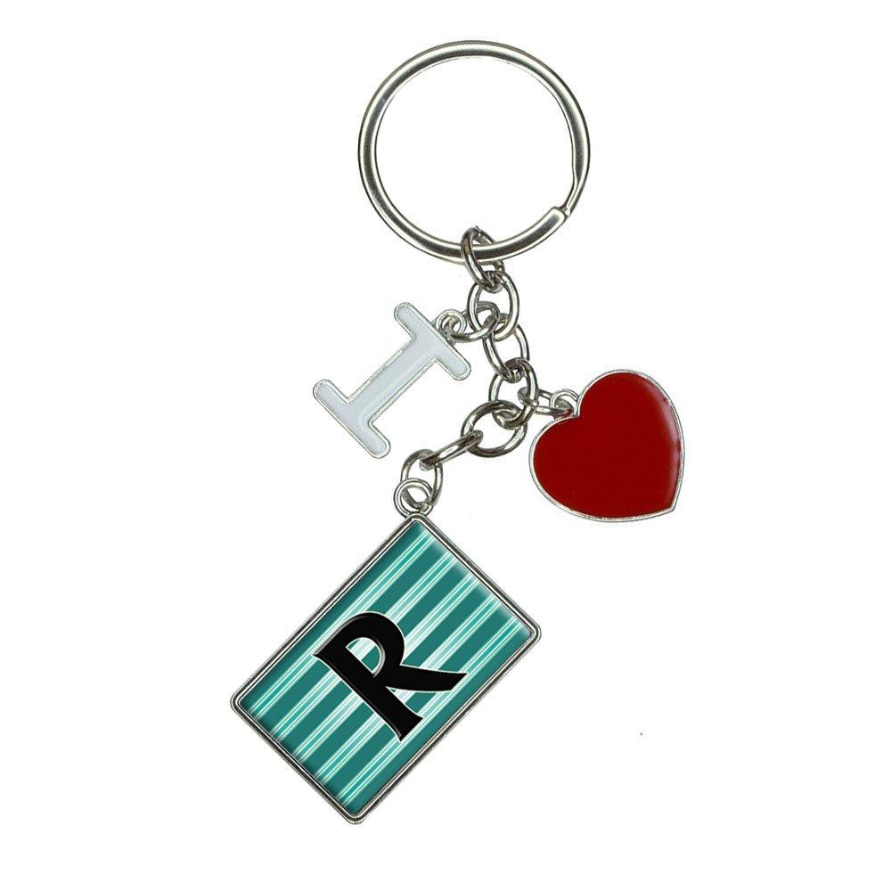 Amazon.com: Letra R inicial negro Teal rayas I corazón Love ...