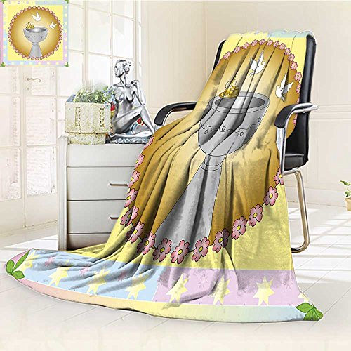 YOYI-HOME Digital Printing Duplex Printed Blanket Chalice and Pair of Pigeons in Floral Medallions Shape Image Pink Khaki Blue Summer Quilt Comforter /W59 x H39.5