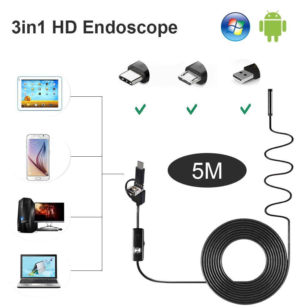 USB Endoscope 3 in 1 USB-C Type-C Inspection Camera 1200P HD Scope Borescope Semi-rigid Snake Camera IP68 Waterproof with 8 Adjustable Led Lights for Android Phone Tablet,PC- 5M/16.4FT