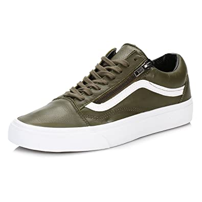 Vans Mens Ivy GreenTrue White Old Skool Zip Trainers UK 6