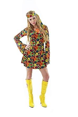 851d6da8fa1 Hippy Costume for Women - 60s Flower Power Woodstock Summer of Love Fancy  Dress Small  Amazon.co.uk  Clothing
