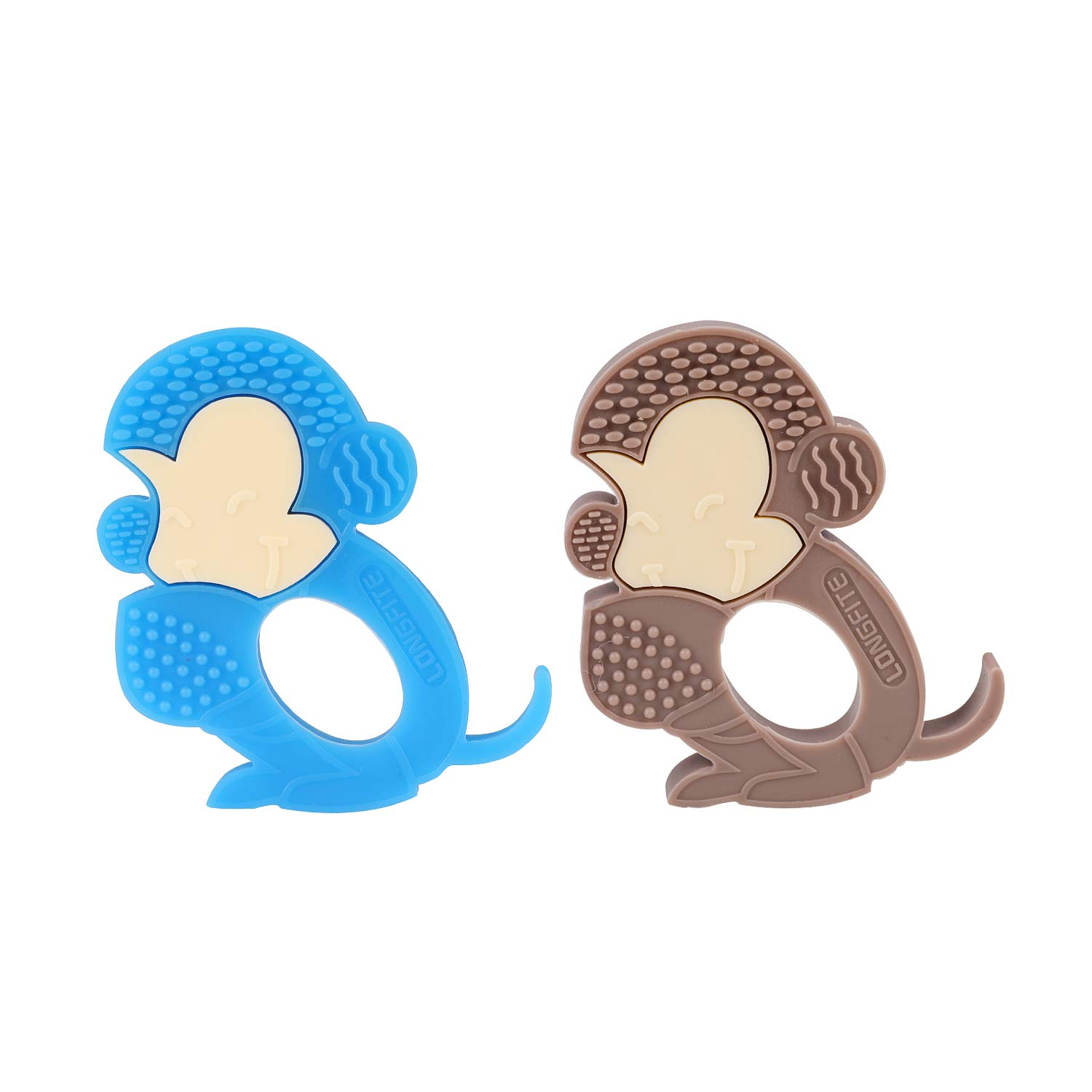Pack of 2 Longfite Baby Teething Toys and Soothing Teether Soft Silicone Monkey Infant Teething Set