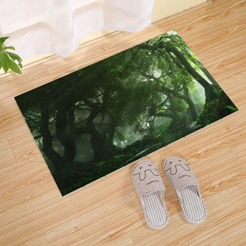 JANNINSE Autumn Tree Small Doormat, Hundred-Year-Old Tree Winding Tree Vine Landscape, Large Indoor Super Absorbent Waterproof Door Mat Anti-Slip Rug, Green (Year Old Vines)