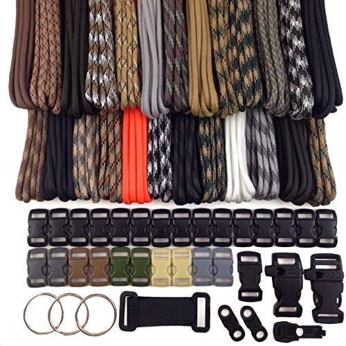 - 550 Military Paracord Survival Bracelet Kit Type III 7 Strand with 250 Feet and 25 3/8