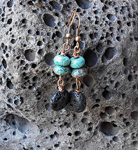 Blue Calsilica Jasper and Lava Stone Essential Oil Diffuser Dangle Drop Earrings Copper
