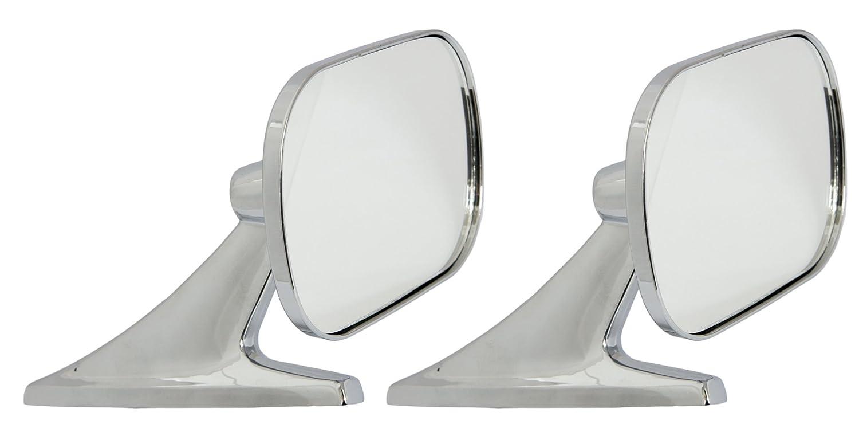 Motamec Classic Car 10 Side Door Wing Mirror x2 Chrome Steel Square