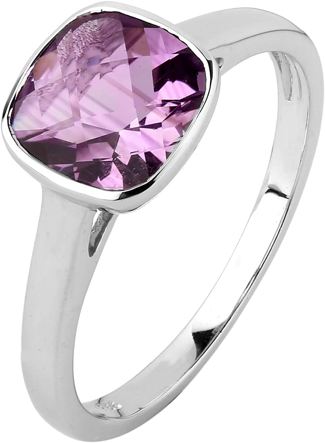 Gemsonclick Natural Purple Amethyst Ring Oval Cut Silver Purple Birthstone Handcrafted Ring Sizes 4-13