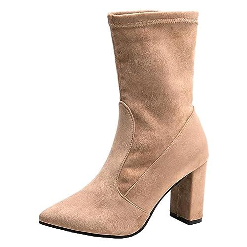 Mashiaoyi Botines Chelsea Tacón Ancho sin Cordones Ante para Mujer EU 35 Beige: Amazon.es: Zapatos y complementos