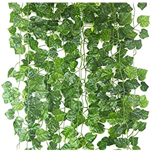 Artificial Hanging Plant 80ft-12strands Silk English Ivy Vine Garland Arrangement Faux Fake Flower Green Leaves Wreath Home Kitchen Indoor Outside Garden Office Wedding Wall Banister Decor 2