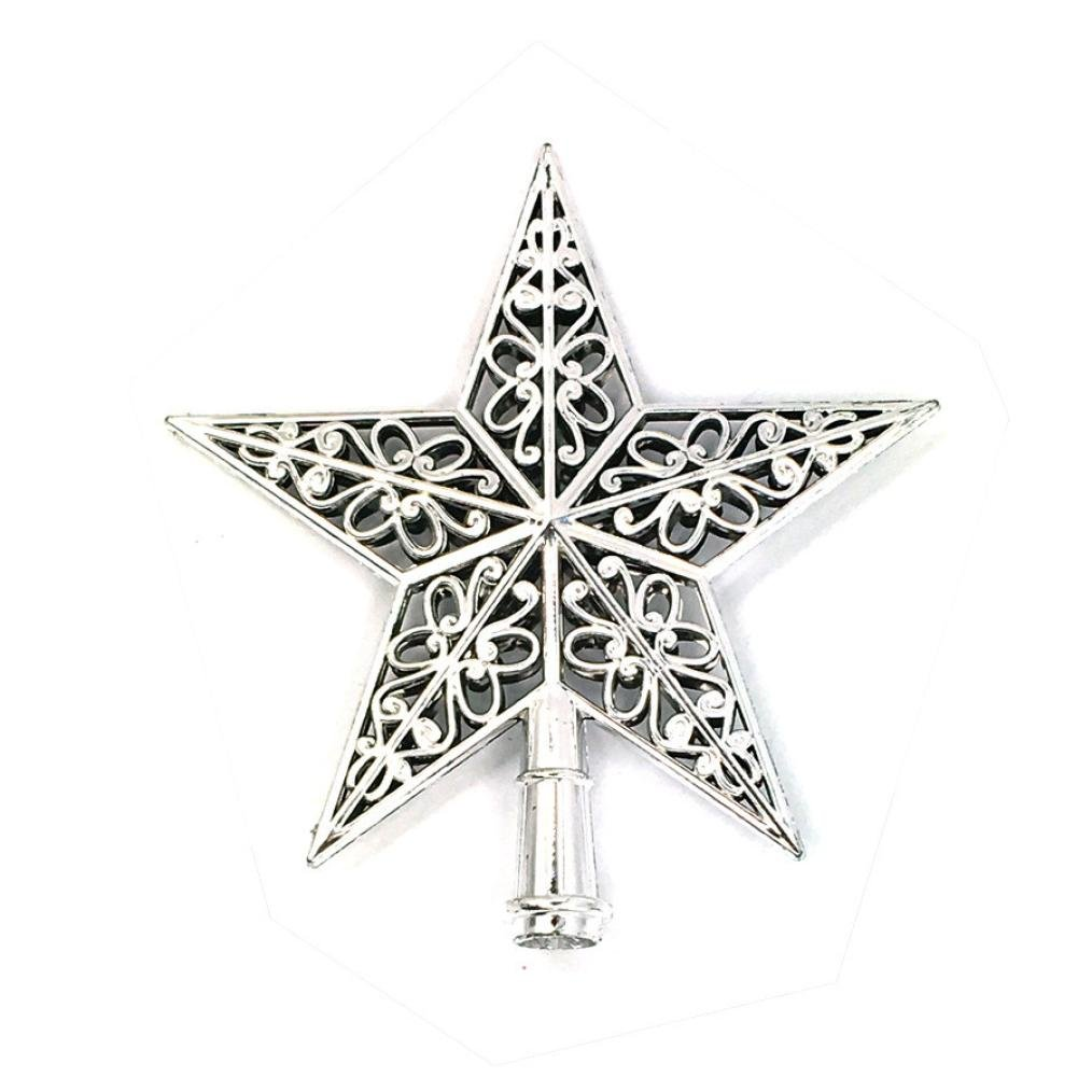 Coohole Christmas Tree Top Sparkle Stars Hang Decoration Xmas Ornament Topper (Silver)