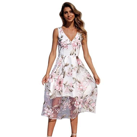 Amuster I7vyf6ybg V Mit Maxi Kleid Blumenmuster Frauen Sommer Ausschnitt Ybfgy76