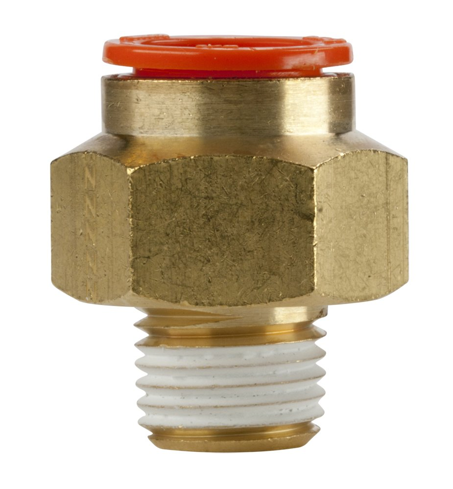 SMC KQ2H13-35AS Brass Push-to-Connect Tube Fitting with Sealant, Adapter, 1/2'' Tube OD x 1/4'' NPT Male (Pack of 10)