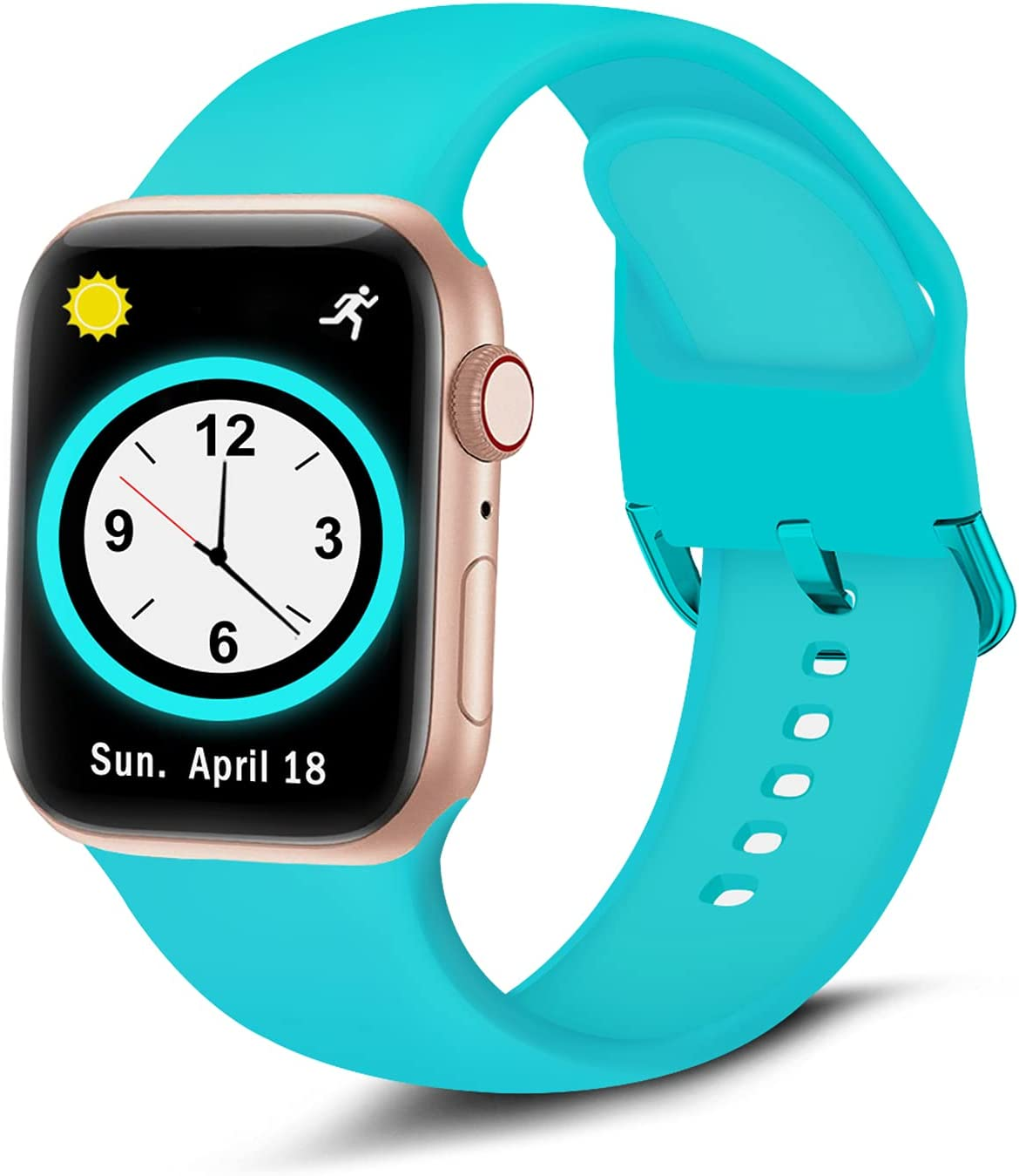 Brigtlaiff Compatible with Apple Watch Bands 38mm 40mm 42mm 44mm, Soft Silicone Sport Replacement Women Men Wristband Strap with Unique Colors Clasp for iWatch Series 6 5 4 3 2 1 SE - 38mm 40mm, Teal