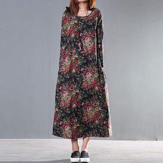 FuweiEncore Tallas Grandes para Mujer, Estampado Floral Vintage, Lino, Vestido Largo Suelto (Color : Navy, tamaño : XX-Large): Amazon.es: Hogar