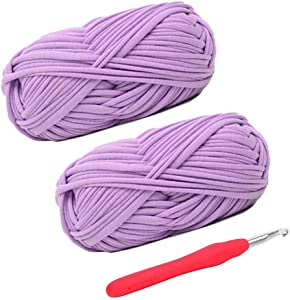 Knitting Yarn Fabric Cloth T-Shirt Yarn Carpet Yarn for Hand DIY Bag Blanket Cushion Crocheting Projects, Pack of 2 Skeins, 3.5 Ounce x 2, 35 Yard x 2, One Crochet Hook (Purple)