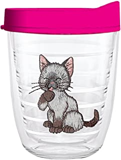 product image for Smile Drinkware USA-KITTEN GRAY BROWN 12oz Tritan Insulated Tumbler With Lid and Straw