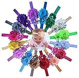 Qandsweet Baby Headbands Polygon Flower with Rhinestone Girls Hair Accessories 16 Pack
