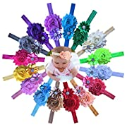 Qandsweet Baby Headbands Polygon Flower with Rhinestone Girls Hair Accessories 16 Pack