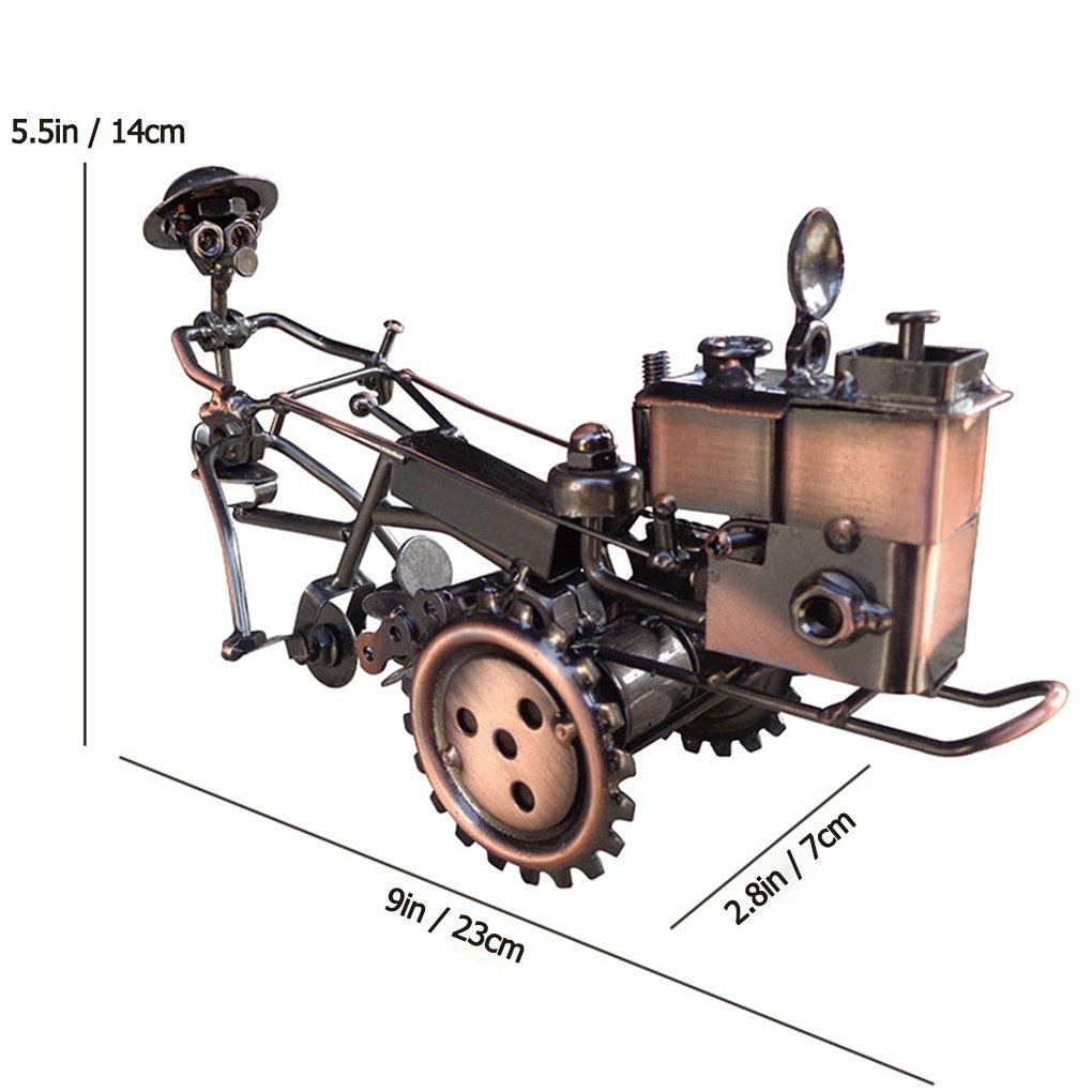 Amperer Escultura de arte coleccionable hecha a mano de metal para motocicleta, modelo de tractor creativo de oficina, accesorios de escritorio, ...