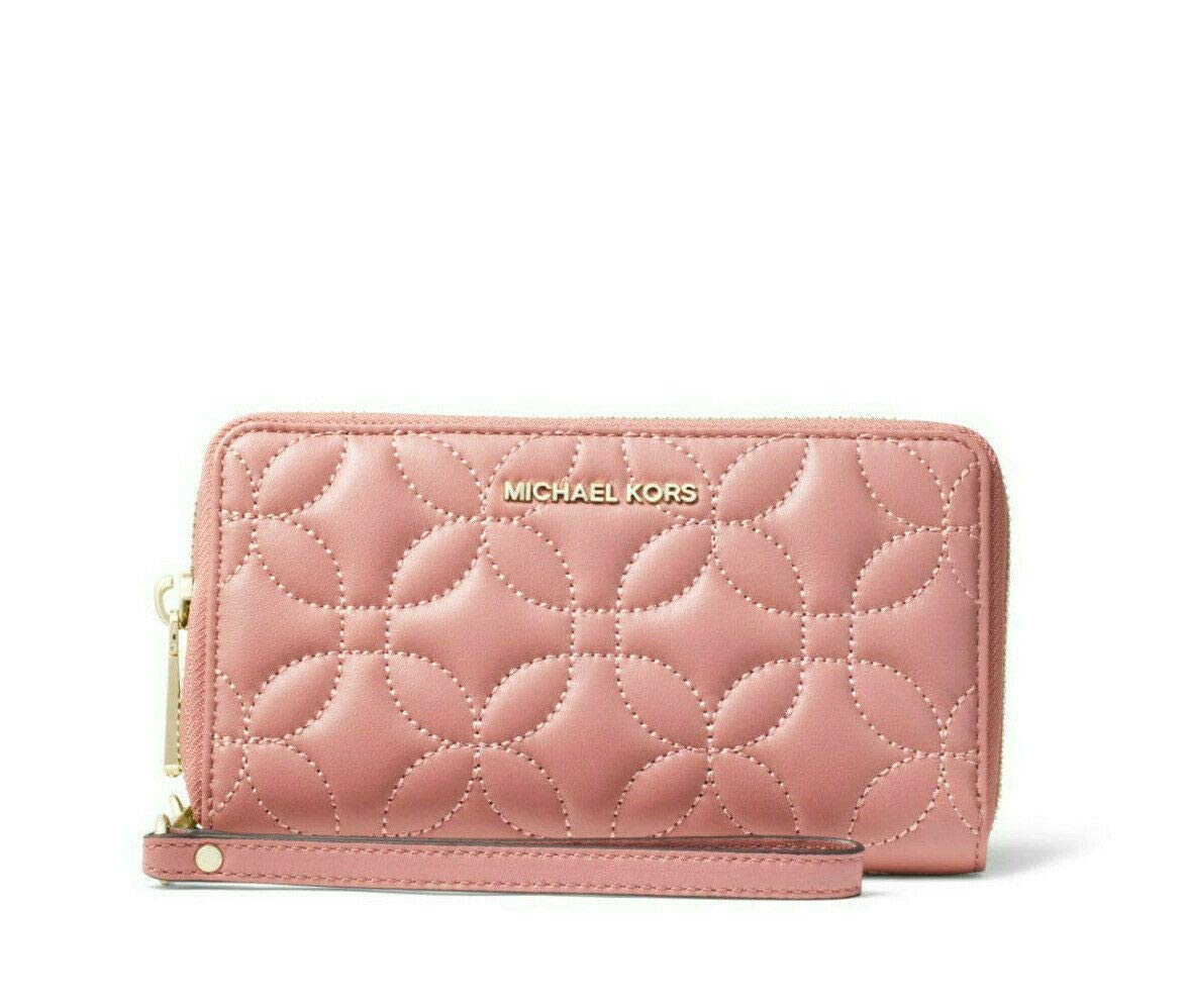 MICHAEL Michael Kors Large Quilted Leather Smartphone Wristlet in Rose