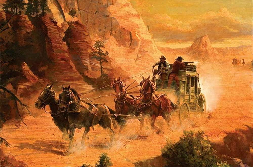 Letrero de metal para pared, diseño de caballo de vaquero y carruaje huyendo de indios de café para decoración del hogar, 30,5 x 20,3 cm