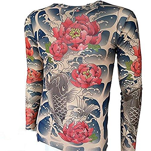 (SHINA Tattoo Long Sleeve T-Shirt with Carp Flower Pattern Men Elastic Suitable)