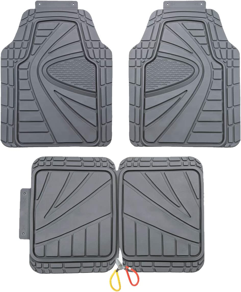 Front/&Rear 4 pieces Set CAR-GRAND Universal Fit Heavy Duty All Weather Waterproof Rubber Car Floor Mats