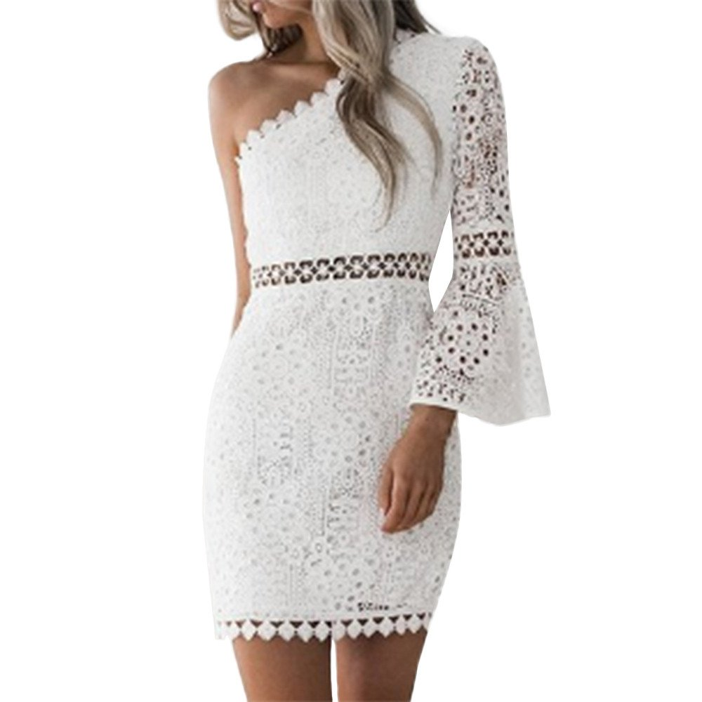Nmch Women Sexy Lace One Shoulder Flare Long Sleeve Bodycon Dress Cocktail Party Mini Dresses 2019 (White,XL)