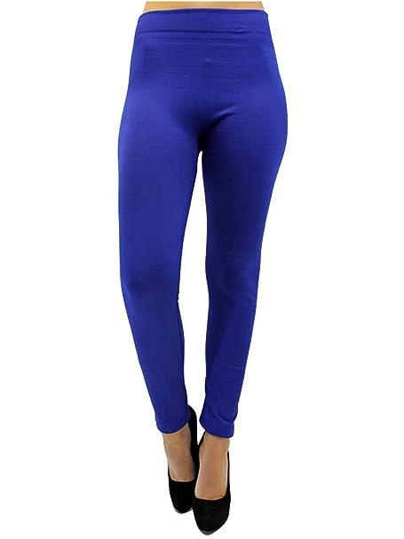 5f13b4f35be36 Luxury Divas Cobalt Blue Soft Fleece Lined Leggings at Amazon ...