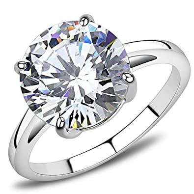 YourJewelleryBox 020 SOLITAIRE ACCENTS ENGAGEMENT SIMULATED DIAMONDS STAINLESS STEEL RING CUSHION 7wtMAYE