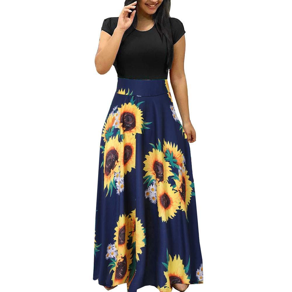Hstore Women's Sunflower Print Bohemian Dress, Summer Short Sleeve Slim fit Wing Dress Sundress Casual Maxi Dress