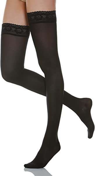 80 Denier Black Opaque Hold Ups With Lace Silcone Band Sizes S//M M//L
