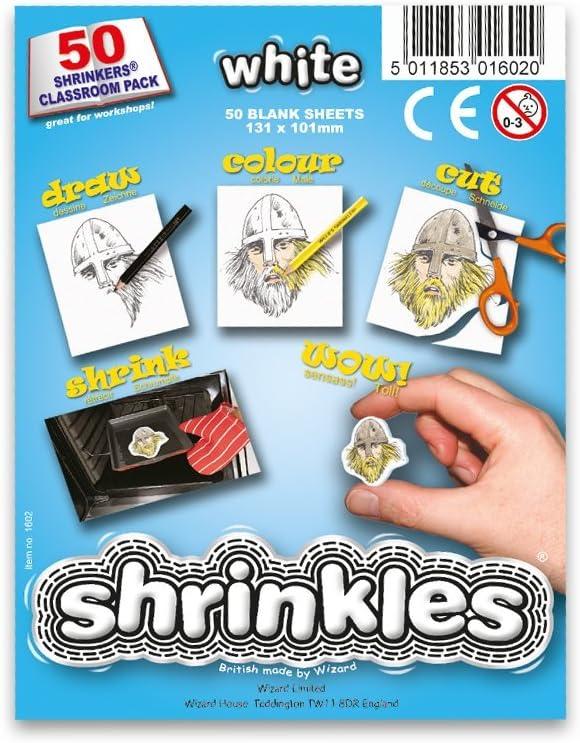 Shrink Art Art-WZ623 Shrinkles Originales,, Paquete Aula, 50 Hojas, Color Blanco (Keycraft WZ623)