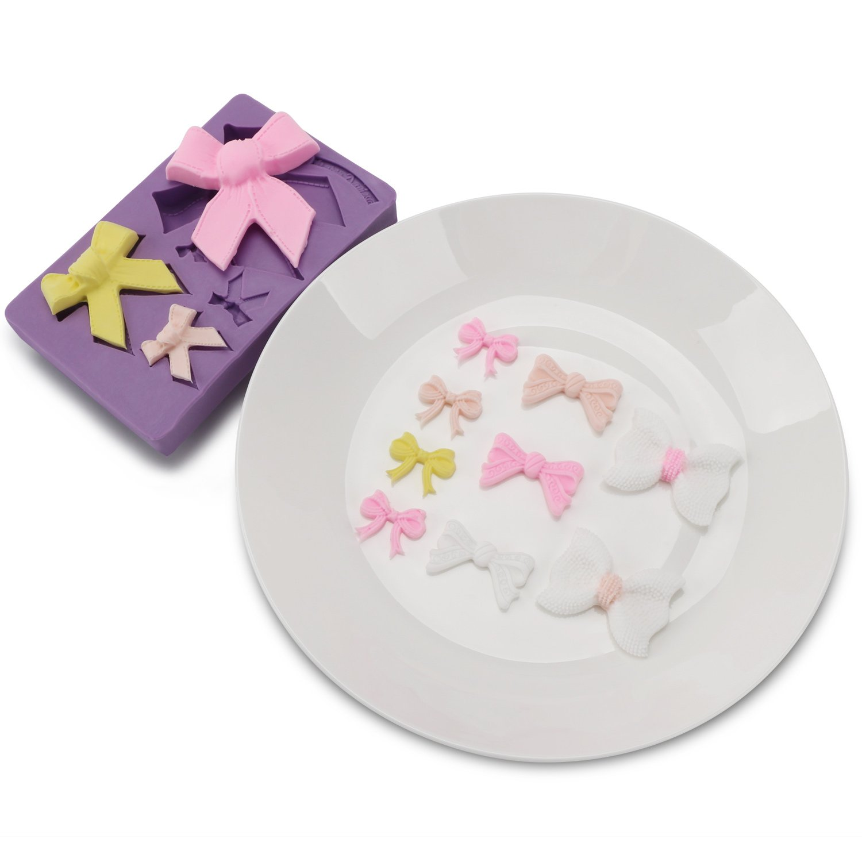 Bow Fondant Mold, Beasea 3pcs Candy Sugar Craft Fondant DIY Gumpaste Cake Decoration Cupcake Decorating Toppers Clay Purple by Beasea (Image #9)