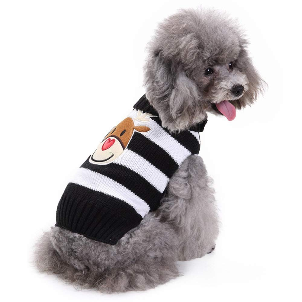 HORHIN Christmas Pet Clothes,The Stripe Reindeer Dog Cat Sweater,Pets Jacket Dogs Apparel,Xmas Dog Puppy Holiday Festival New Year Knitwear Outfit Costume Sweater(Black)