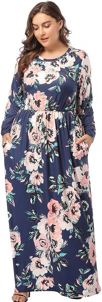 TALLA (EU58-60)4XL. Lover-Beauty Vestido Largo Mujer Talla Grande Moda Bolsillo Top Falda para Fiesta Verano Manga Larga Floral Estampada Suleto Moda de Ropa Elegante Maxi Azul Oscuro 2 (EU58-60)4XL
