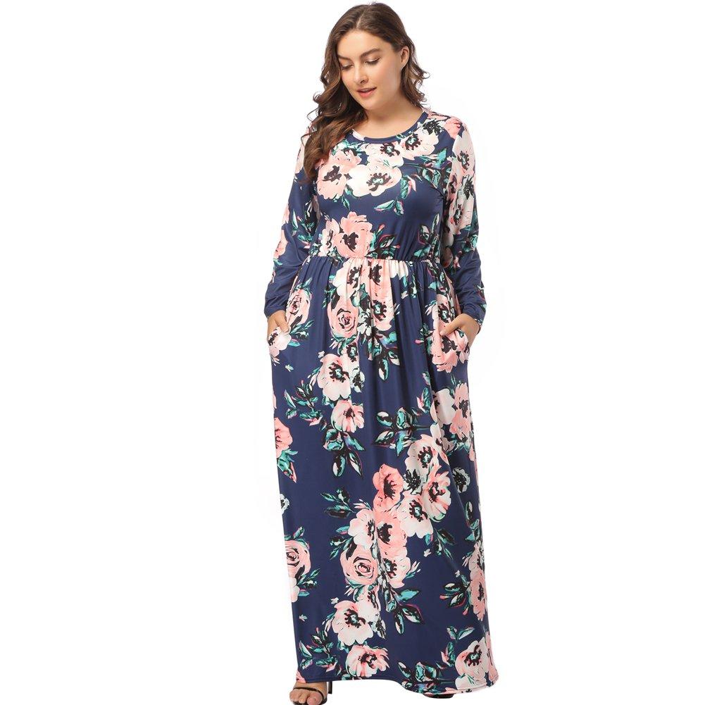 TALLA (EU50-52)2XL. Lover-Beauty Vestido Largo Mujer Talla Grande Moda Bolsillo Top Falda para Fiesta Verano Manga Larga Floral Estampada Suleto Moda de Ropa Elegante Maxi Azul Oscuro 2 (EU50-52)2XL