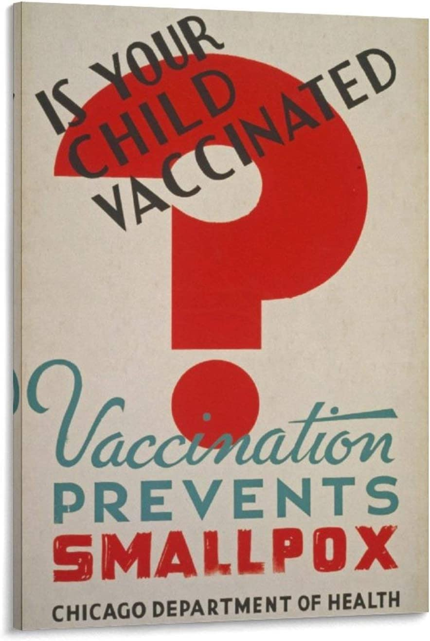 ZHANGWEI is Your Child Vaccinated (1936) Prevent Smallpox Vintage Posters Canvas Prints Wall Art Retro Poster Indoor Decor for Home Office Esthetics 24x36inch(60x90cm)