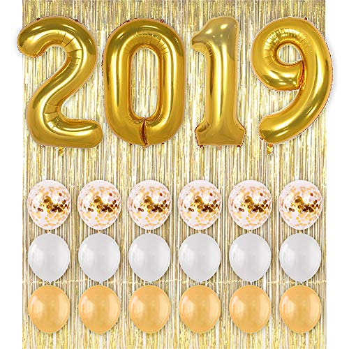 40inch Gold 2019 Balloons Graduation Party Balloons with 12inch Confetti Balloons Pearl Balloons 3.28ft*6.56ft Fringe Curtain 2pack for New Year Party Grad Event Anniversary Party Decorations (Gold) -