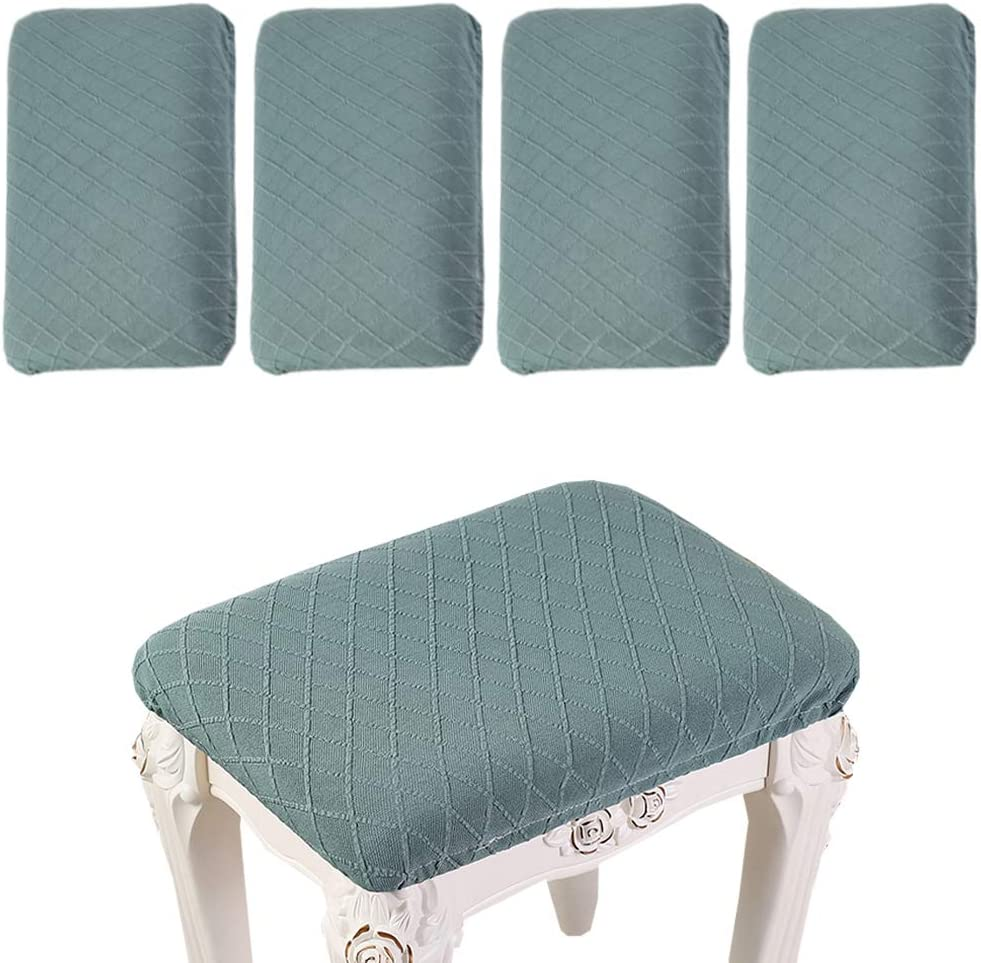 4 Pack Stretch Rectangle Bar Stool Covers Elastic Jacquard Chair Seat Slipcovers Counter Stool Covers Saddle Seat Cover for Wooden Metal Bench Washable (Green)