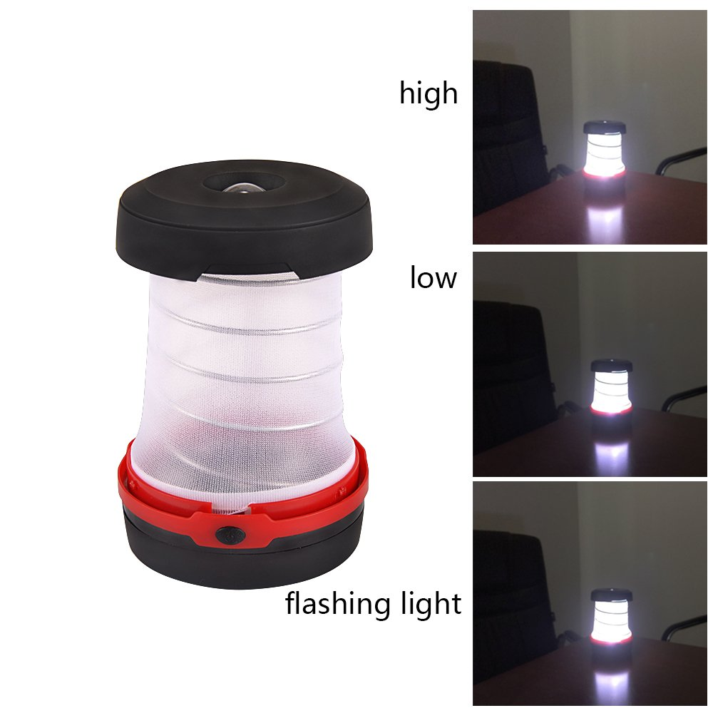 CycleMore 2 Pack Portable Mini LED Lantern Collapsible Camping Light Battery Powered Flashlight 3 Modes Water Resistant Lamp for Outdoor Home Garden Hiking Emergency Outages (Batteries Not Included) by CycleMore (Image #5)