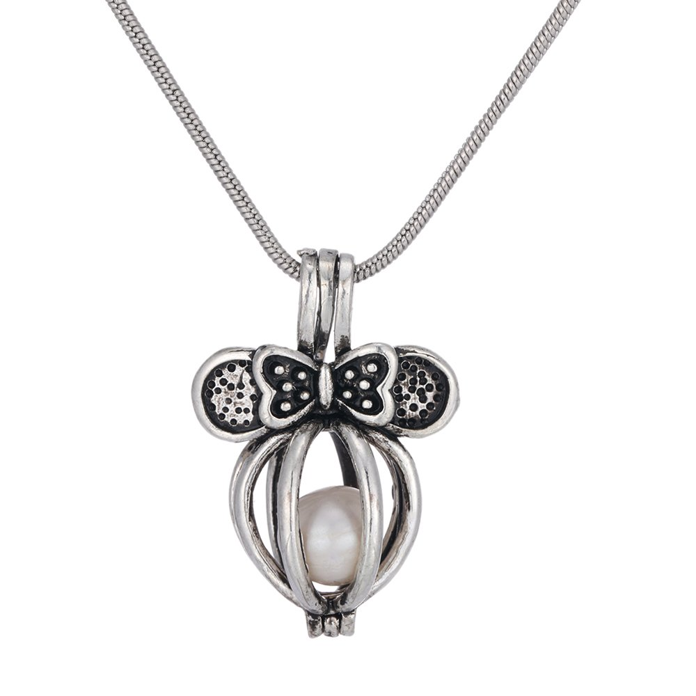 MYAROMA FINDINGS Freshwater Pearl Locket Pendant Necklace with Freshwater Pearl Snake Chain