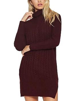 fa45fc8c44d8 Yonglan Mujer Cuello Alto Vestido De Suéter Color Sólido Largos Vestidos  Prendas De Punto Sueters Jerseys Vino Rojo Talla única: Amazon.es: Deportes  y aire ...