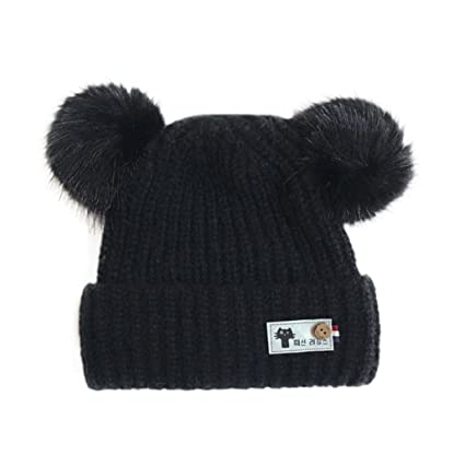 Amazon.com  Inkach Baby Beanie Knit Hat Faux Fur Pom Pom Toddler Winter  Knitted Crochet Warm Hats Skull Caps (Black)  Toys   Games 3e5602599fbe